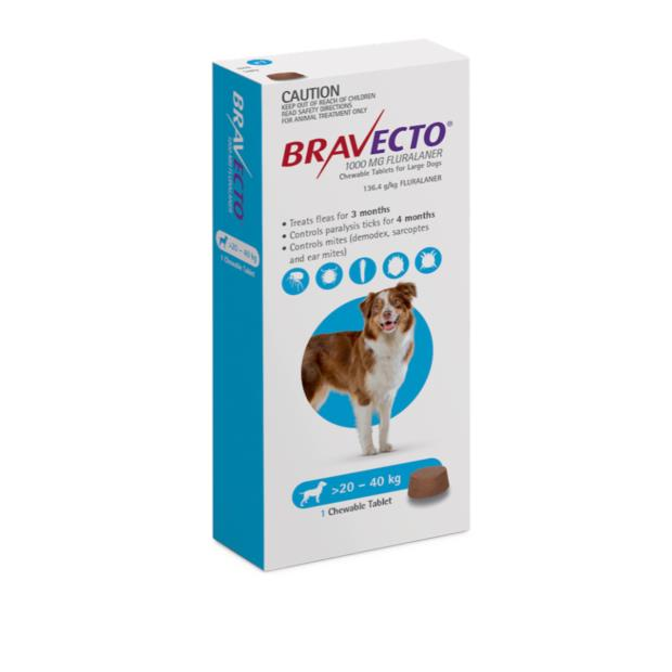 Bravecto Large Dog Blue Protection 12 Month Pet: Dog Category: Dog Supplies  Size: 0.8kg  Rich...