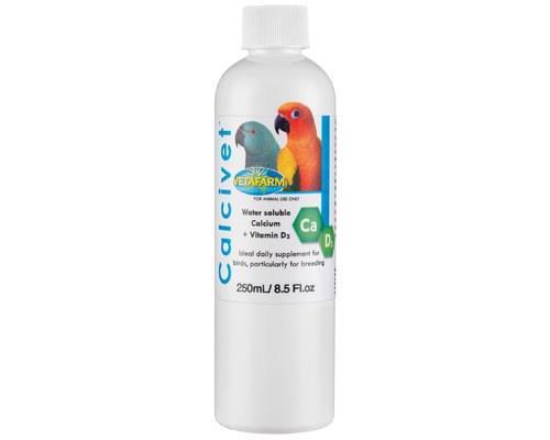 VETAFARM CALCIVET LIQUID CALCIUM SUPPLEMENT 250MLSpecially formulated to supplement the diet of caged...
