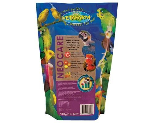 Vetafarm Neocare Hand Rearing Baby Bird Food, 450gRecommended for:As a complete hand rearing...