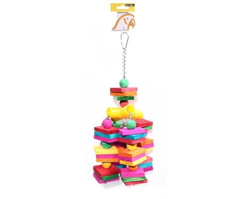 AVI ONE BIRD TOY COLOURED WOOD CUBES WITH LEATHER ROPE 15CMThe Avi One Bird Leather Coloured Wood Cube...