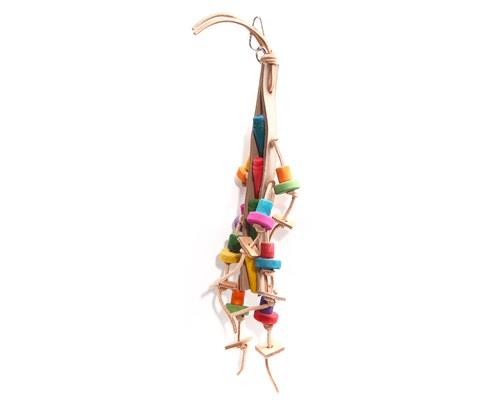 AVI ONE BIRD TOY COLOURED WOOD BEADS WITH LEATHER ROPE 40CM The Avi One Bird Leather Coloured Wood...