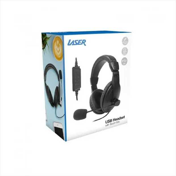 Perfect headset for Skype and Zoom meetings.   The Laser USB Headset with Boom Microphone connects...
