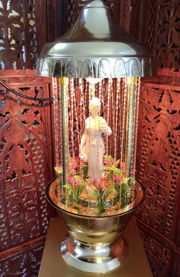 Lamp height: 59cmLamp diameter: 23cmPedestal column height: 74cmTotal height: 133cm In very good...