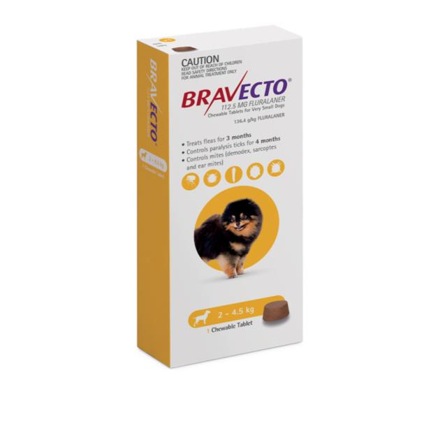 Bravecto Very Small Dog Yellow Protection 12 Month Pet: Dog Category: Dog Supplies  Size: 1.6kg  Rich...