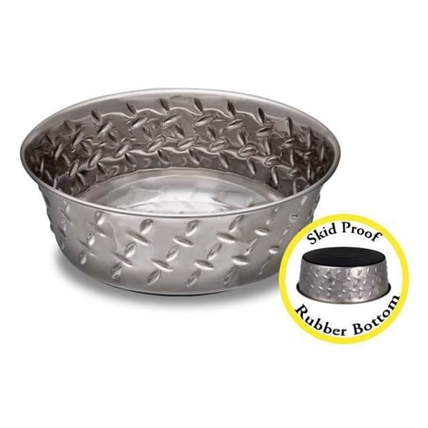Loving Pets Non Skid Diamond Plate Bowl 4.7ml Pet: Dog Category: Dog Supplies  Size: 3kg Colour: Silver...