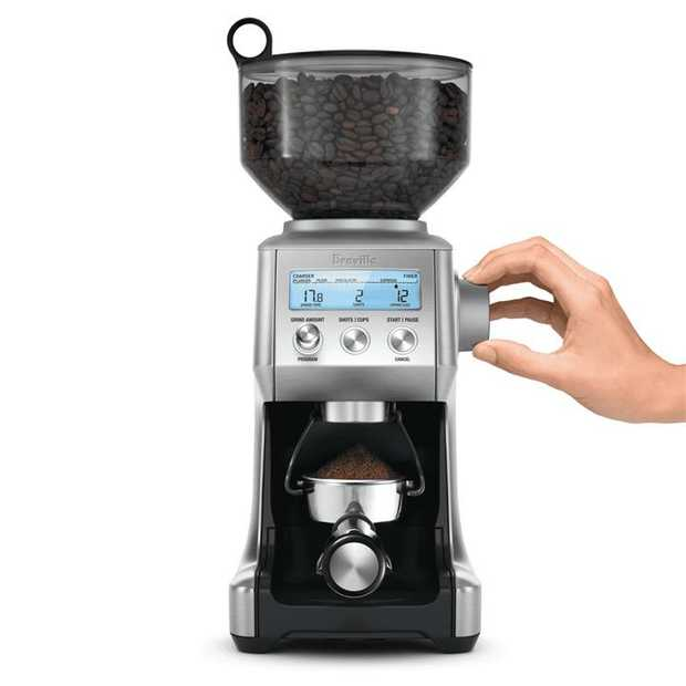 Breville's conical burr Smart Grinder uses Dosing IQ technology to automatically adjust the dose...