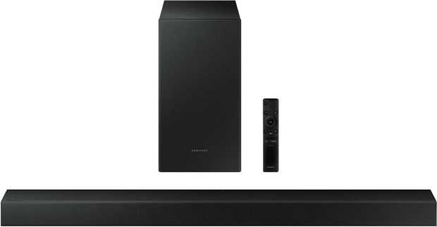 This Samsung sound bar speaker features two channels. It plays MP3, AAC, FLAC, WAV, and OGG audio...