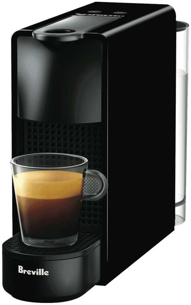 You can serve espresso drinks anytime with this black Nespresso Breville Essenza Mini Solo capsule...
