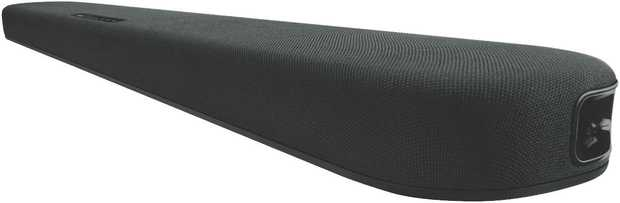 This Yamaha sound bar speaker features two channels. It plays DTS, Dolby Pro Logic II, Dolby Pro Logic...