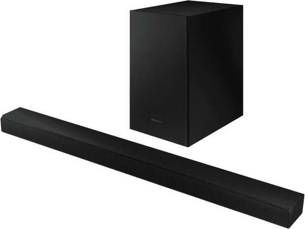 This Samsung sound bar speaker has two channels. It supports MP3, AAC, FLAC, WAV, and OGG audio...