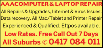 AAA COMPUTER & LAPTOP REPAIRSOLUTIONS OF ALL COMPUTER PROBLEMS!All Repairs & Upgrades, Internet...