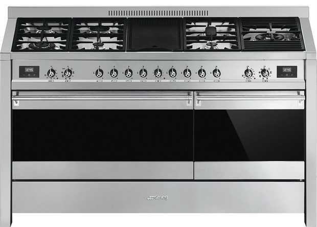 90L/70L Main/Auxiliary oven capacity 8 Total functions 7 burners, 1 element Thermoseal Cool Door...