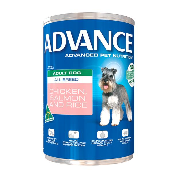 Advance Adult Chicken Salmon And Rice Wet Dog Food Cans 12 X 410g Pet: Dog Category: Dog Supplies ...