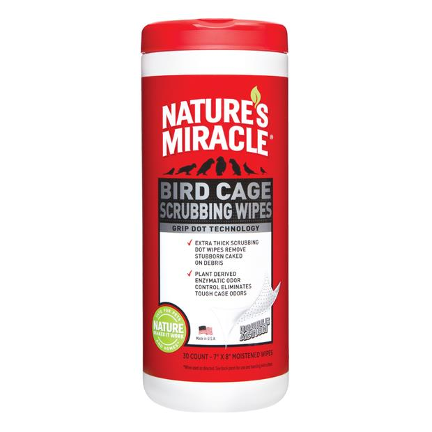Natures Miracle Bird Cage Scrubbing Clean Wipes 30 Pack Pet: Bird Category: Bird Supplies  Size: 0.3kg...