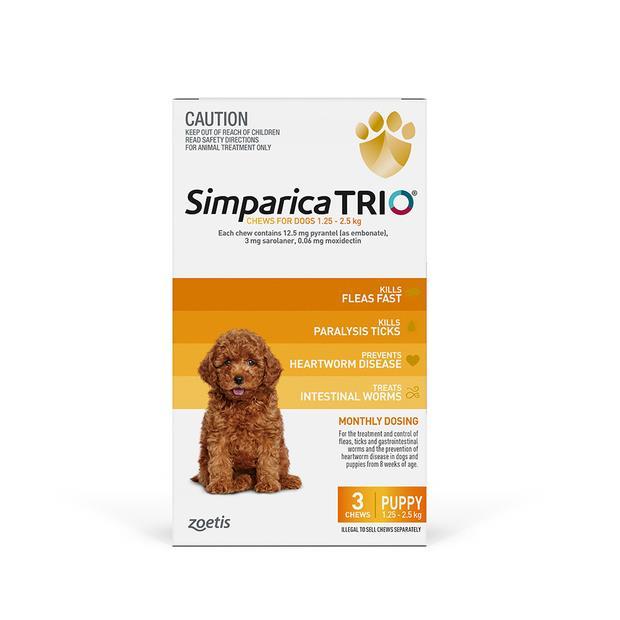 Simparica Trio Puppy 2 X 3 Pack Pet: Dog Category: Dog Supplies  Size: 1kg  Rich Description: Simparica...
