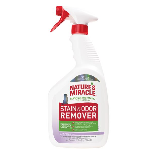 Natures Miracle Cat Stain And Odour Remover Lavender 946ml Pet: Cat Category: Cat Supplies  Size: 1.1kg...