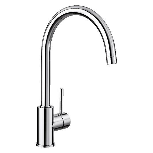 European design Ceramic Disk Cartridge 360° Swivel Spout High Arch Goose Neck Chrome or Silgranit™ Look...
