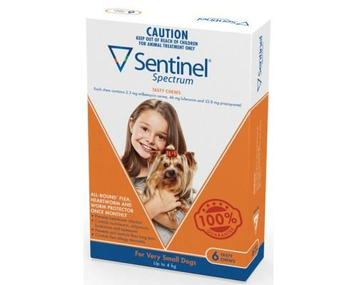 Sentinel Spectrum Flea, Heartworm and Intestinal Worm Treatment, Extra Small for Dogs up to 4kg, 6...