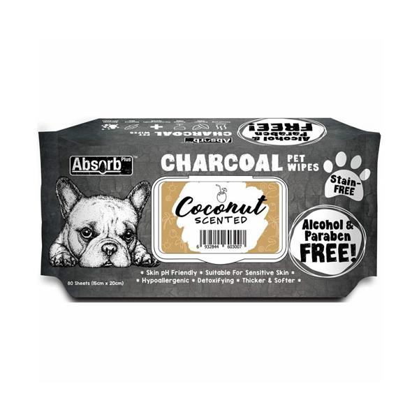 Absorb Plus Charcoal Pet Wipes Coconut 80 Pack Pet: Dog Category: Dog Supplies  Size: 0.5kg  Rich...