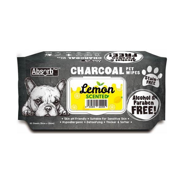 Absorb Plus Charcoal Pet Wipes Lemon 80 Pack Pet: Dog Category: Dog Supplies  Size: 0.5kg  Rich...