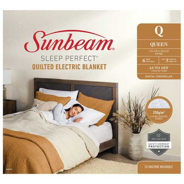 6 Heat Settings 5min Fast Heat Up Auto Off Digital Controller 250g/m2 Luxury Quilted Fabric Safety...