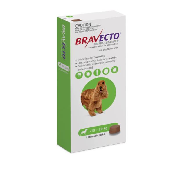 Bravecto Medium Dog Green Protection 12 Month Pet: Dog Category: Dog Supplies  Size: 0.8kg  Rich...