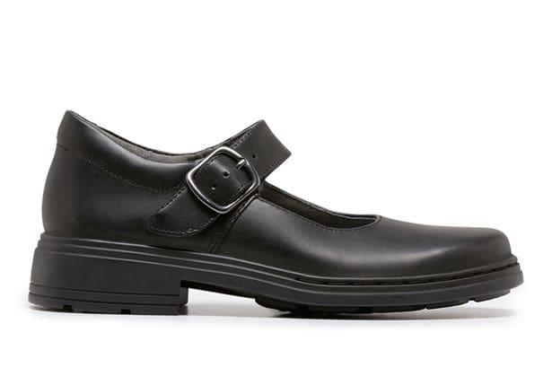The Clarks Kids Intrigue Black (G) is a durable black leather school shoe from Clarks featuring a Mary...
