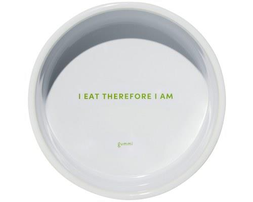 GUMMI PET TEXT CERAMIC BOWL GREEN MEDIUM'I eat therefore I am.'Oh dear. You'd better feed your dog...