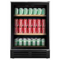 178 (330ml) can chiller Smoked tempered glass Slim stainless steel frame Recessed handle top, bottom...