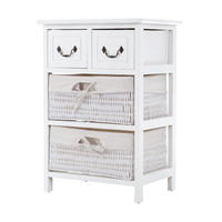 White Vintage Chest Drawers With Baskets: MAI DAKOR: https://www.maidakor.comA rustic and cottage feel...