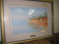 Original framed and Glassed Painting by Joy O'Farrell, Brisbane. Titled Redcliffs Early Morning.Frame...
