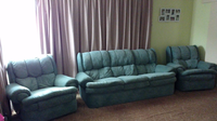 LA Franco 3 piece Teal Suede Lounge Suite with Two Manuel Reclining chairs, Non Smoking House hold; No...