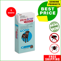 Bravecto chews provide effective protection and prevention of flea infestations, paralysis ticks, brown...