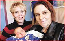 Rochelle Bonney with Joanne and Jai Stevens at Toowoomba Hospital yesterday. Picture: KEVIN FARMER