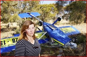 Alison Jones at the scene of an ultralight plane crash yesterday. Picture: KEVIN FARMER