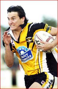 Gatton?s Aaron Werth steps up for the Clydesdales against Wynnum today. Picture: KEVIN FARMER