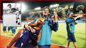 Michael Brennan celebrates Kookaburras? 2-1 win. Picture: AAP