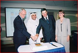 The cake-cutting ceremony at the new USQ Dubai campus. Picture: USQ DUBAI CAMPUS