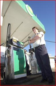BP Oakey proprietor Adam Bullin lost most of his day?s takings.  Picture: SCOTT FLETCHER