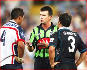 NRL's Tim Mander upbraids Justin Hodges (left) and Ryan Girdler. Picture: AAP
