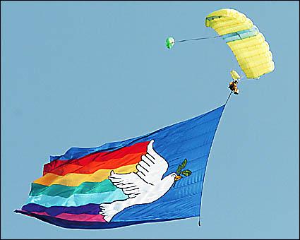 Parachutist Luke Oliver, of Ocean Shores, descends towards Tyagarah Airstrip