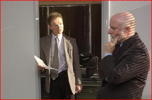 Barrister Robbie Davies (left) and instructing solicitor David Burns discuss yesterday?s judgment.