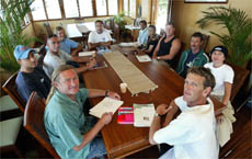 STUART Ball and Phil Arnott, front, met with local surfing legends at Duranbah yesterday