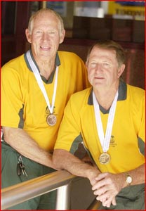 Bill Ford (left) and Ross Ibell at the World Veterans? Cup. Picture: NEVILLE MADSEN