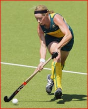 Hockeyroo Karen Smith moves downfield. Picture: GETTY IMAGES