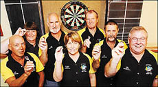 Members of the Hoey Sharks darts team who will attempt a world record 24-hour marathon