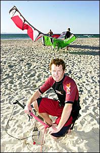 FLYING HIGH: Kite-surfer Mike Walker, of Byron Bay