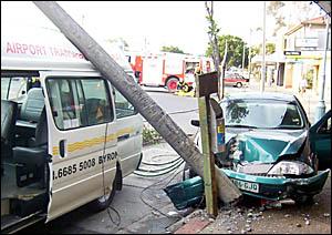 The crash scene in Jonson Street, Byron Bay on Sunday morning.