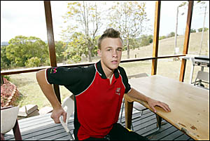 MULLUMBIMBY under-15 rugby league player Kurt Mulcahy at home recovering from a broken back.