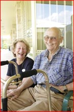 Margaret Nancarrow with new resident Bill Rathbone at Village Life in Taylor Street. Picture: Neville Madsen